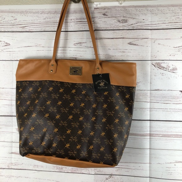 9ac35e6dc462 Beverly Hills polo club large bag tote brown new